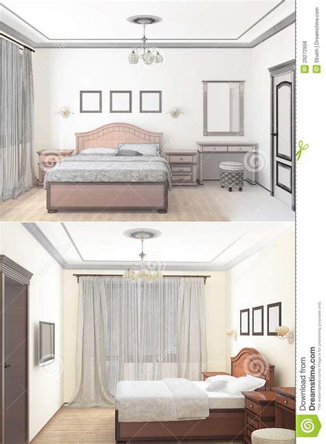 Interior Design Styles Bedroom Sketch 3d Sketch Of An Interior Bedroom Stock Illustration