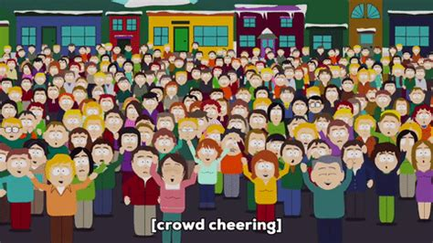 m shyamalan door gif by south park find crowd cheering gif by south park find on giphy