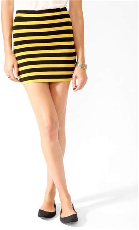 Stripe Basic Bodycon forever 21 basic striped bodycon skirt in yellow black citron lyst