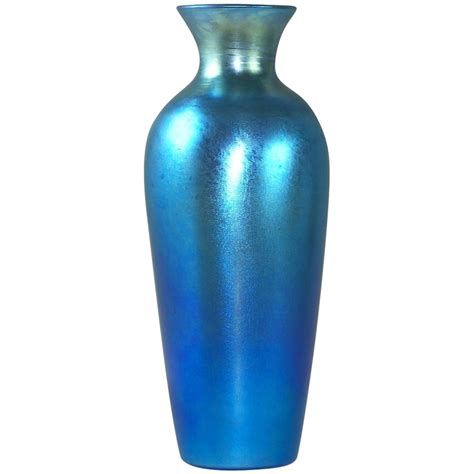Chagne Glass Vases by Stunning Durand Blue Luster Iridescent Glass Vase From