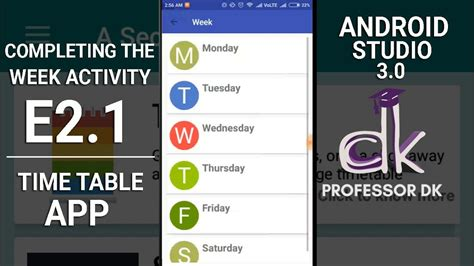 tutorial android studio 3 0 timetable app tutorial e2 1 completing the week activity