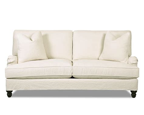 traditional stationary sofa with slip cover and charles of
