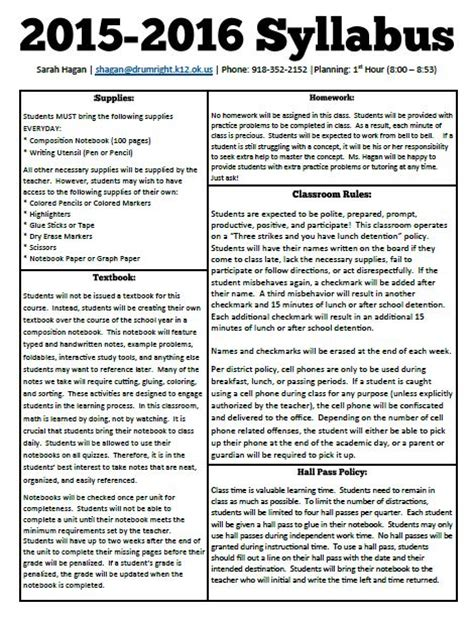middle school syllabus template math new year new syllabus