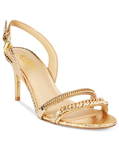michael kors dress sandals lyst michael kors michael jackie mid heel dress sandals