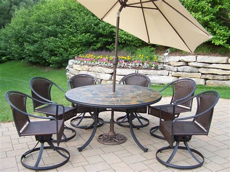 9 Pc Patio Dining Set Oakland Living 9 Pc Patio Dining Set W 54 Quot Topped Table Wicker Swivel Chairs Umbrella