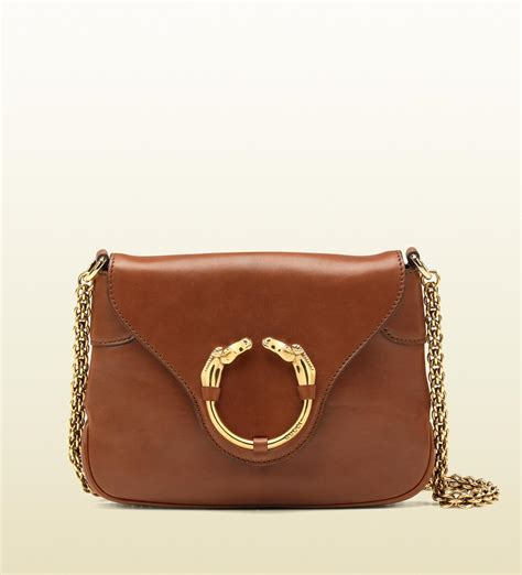 Gucci Color Center Leather Brown lyst gucci ribot horseheads chain leather shoulder bag in brown