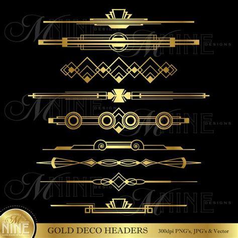 header design elements gold deco headers clip art art deco clipart instant