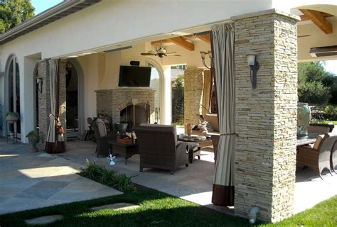 covered patio curtains covered stone patio patio contemporary with sliding spa