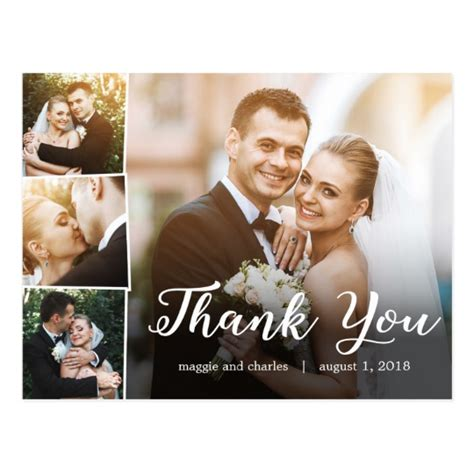 when to send out wedding thank you cards overlapped photos wedding thank you card postcard zazzle