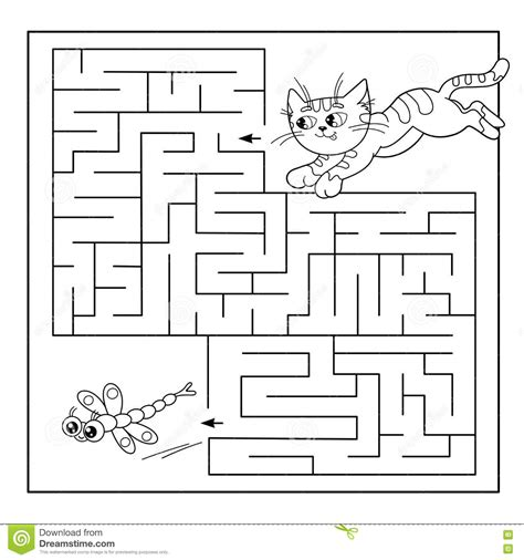 printable cat maze o kitty kindergarten maze worksheets o best free