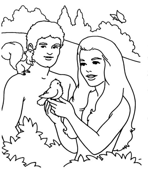 coloring page for adam and eve adam and eve adam and eve playing with bird in the garden