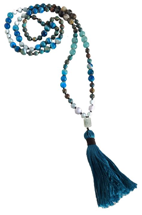 sea bead necklace mala bead 108 necklace sea blue gemstone fuession