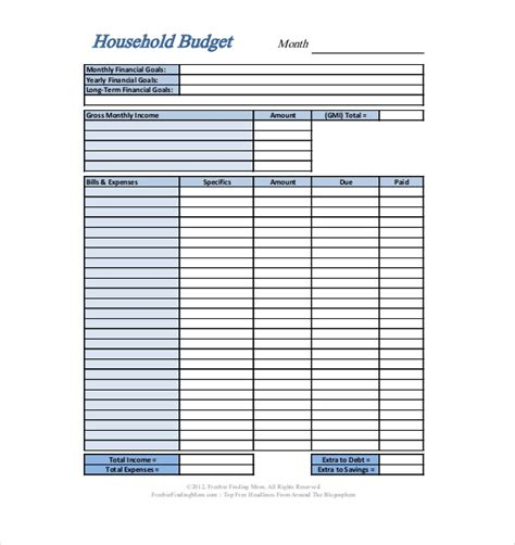 Home Monthly Budget Spreadsheet by Personal Budget Template