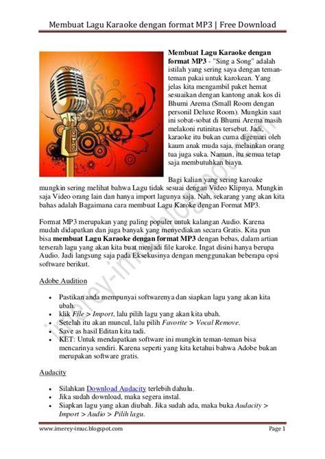 advertising format adalah membuat lagu karaoke dengan format mp3