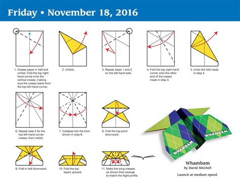 printable paper airplane folding directions paper airplane fold a day 2016 day to day calendar