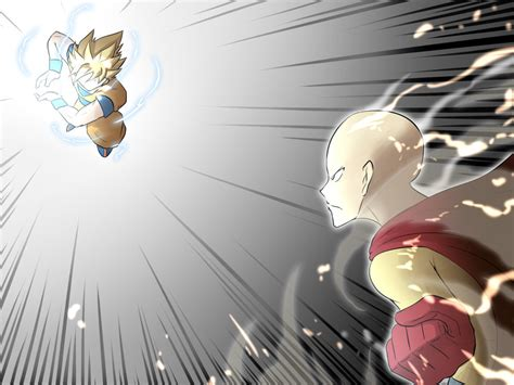 one anime vs saitama vs goku by worldhome90 on deviantart