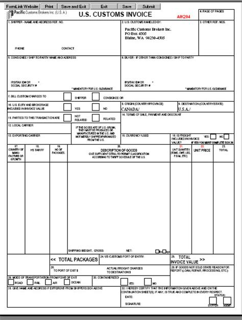 us customs invoice template us invoice template 28 images us customs invoice