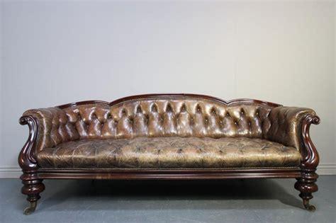handsome 19th c antique leather mahogany sofa