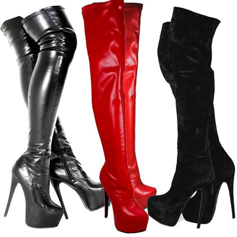 leather boots high heels womens black knee thigh high heel stretch