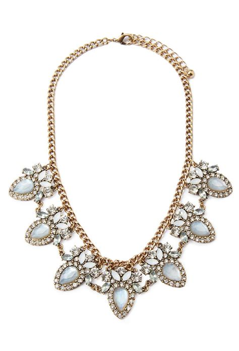 light blue statement necklace forever 21 faux gem statement necklace in blue lyst