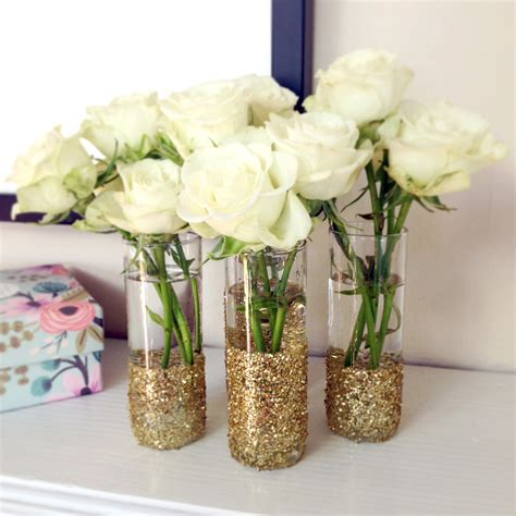 Decorating Glass With Glitter by Diy Glitter Glass Vases Popsugar Smart Living
