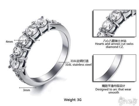 Ring Seher Zr Size Standar yinhed fashion jewelry 316l stainless steel rings hearts and arrows 5pcs cz