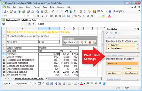 microsoft excel pivot tables pivot table function in kingsoft spreadsheets is an