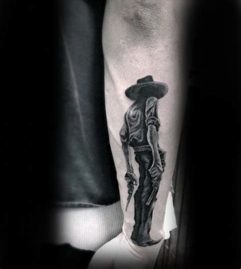 real looking tattoos realistic looking 3d like black ink detailed cowboy