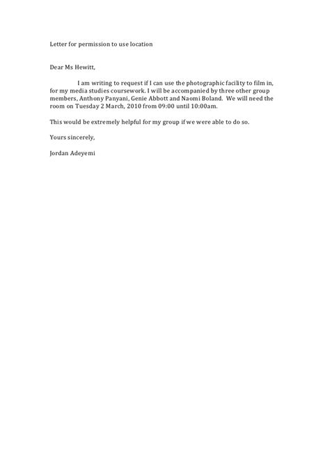 Permission Letter Given By Company For Project Letter For Permission To Use Location