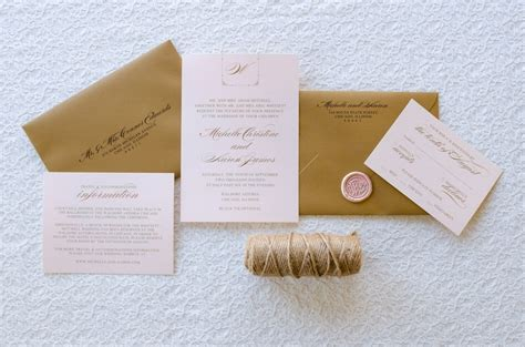 how to seal wedding invitation envelopes blush shimmer and gold foil wedding invitation with gold wax seal second city stationery