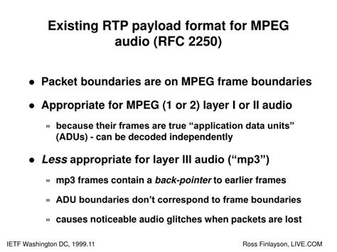 audio format rtp ppt a more loss tolerant rtp payload format for mp3