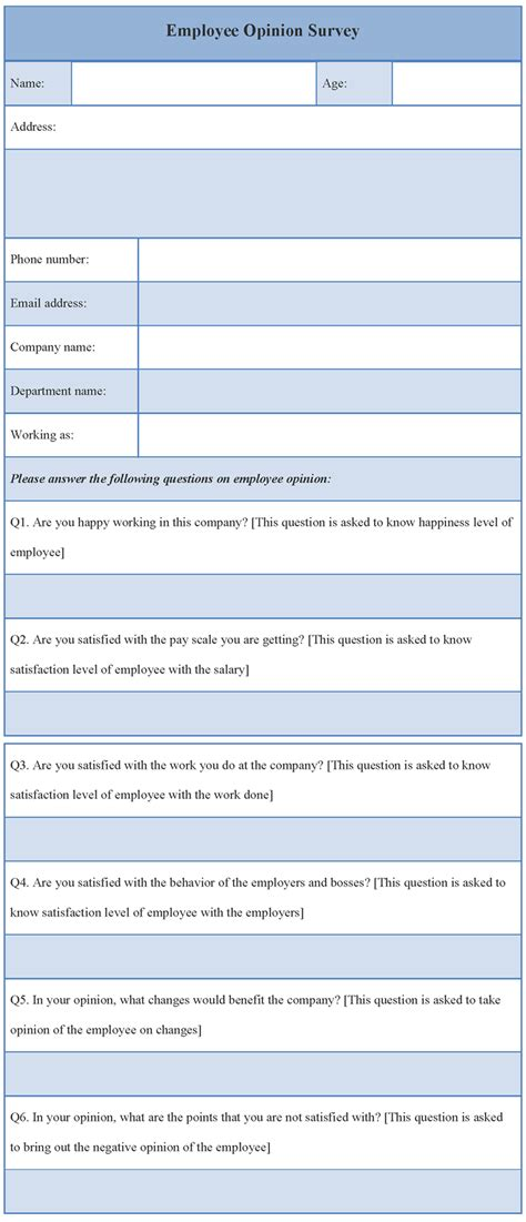 free questionnaire template free sle survey templates