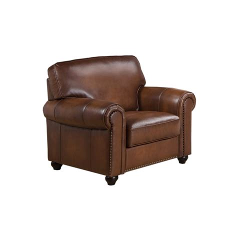 real leather armchair royale olive brown genuine leather armchair with nailhead trim
