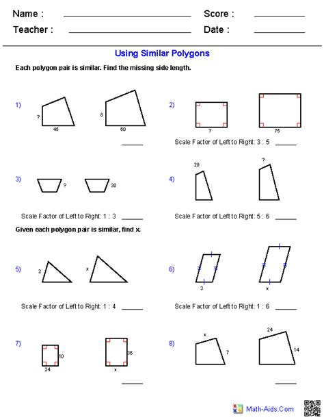 Similar Figures Worksheet 7th Grade by Geometry Worksheets Similarity Worksheets