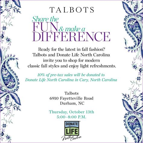 talbots fundraiser at southpoint mall donate nc