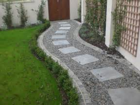 square paving stones in a curving gravel path by a lawn i dream of gardens pinterest