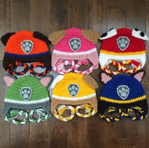 paw patrol crochet character hats order newborn baby child photography prop