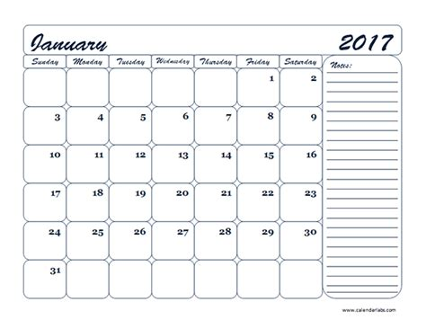 Monthly School Calendar Template 2017 monthly blank calendar template free printable