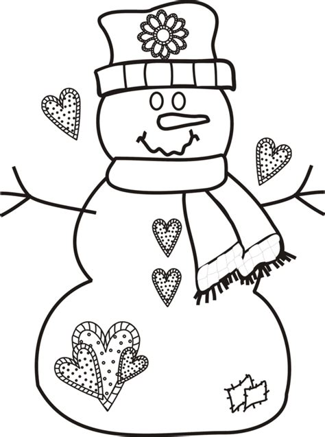 snowman coloring pages crayola snowman with hearts scarf and patches applique