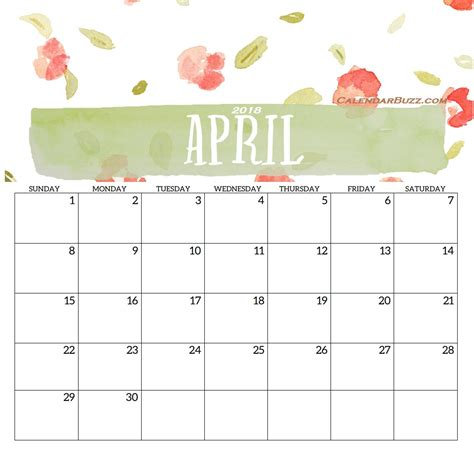 Free Calendar Template April 2018 2018 monthly printable templates calendar 2018