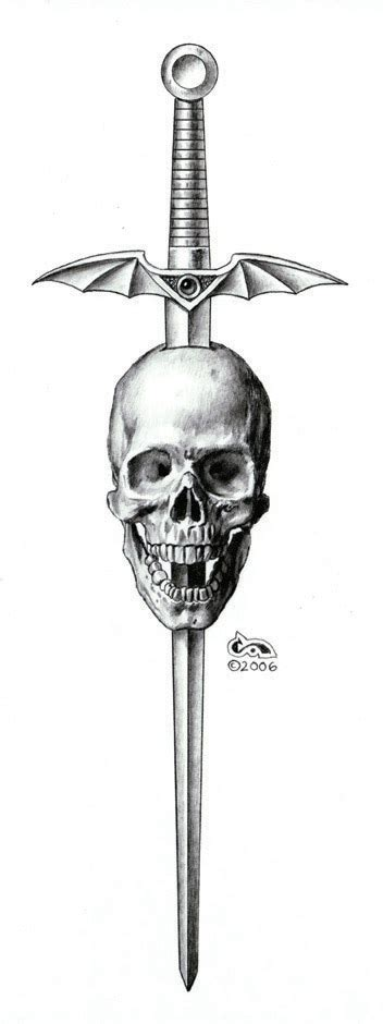 sword design skull tattoo