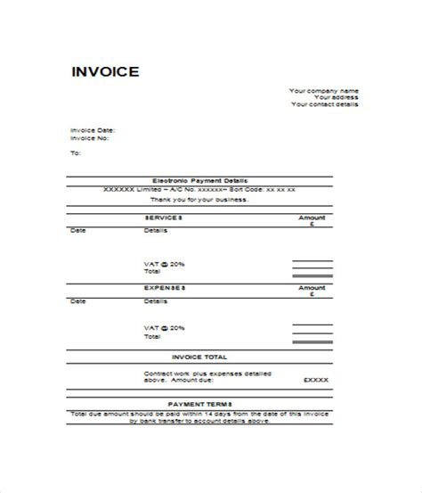 e invoice template 6 blank invoice templates free word pdf documents