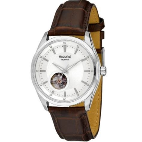 accurist automatic silver brown leather mens