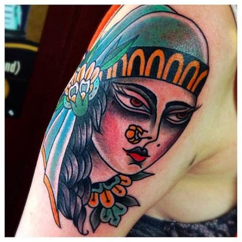 new school gypsy tattoo shoulder new school gypsy tattoo by sacred art tattoo