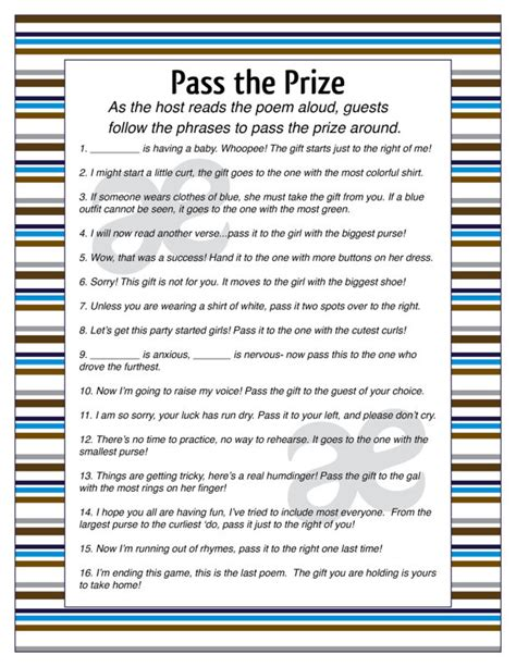 Pass The Prize Baby Shower printable baby boy shower activity pass the prize instant