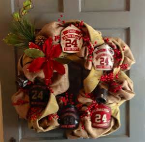 firefighter shield fire hose holiday wreath shared by