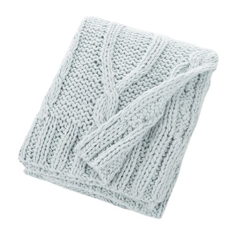 blue knitted throw buy bloomingville knitted throw sky blue amara