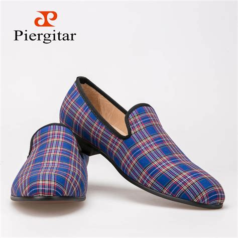 wholesale handmade scottish plaid fabric shoes