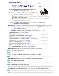 active and passive voice worksheets with answers
