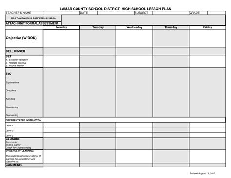printable college lesson plan template lcsd high school lesson plan template syllabus